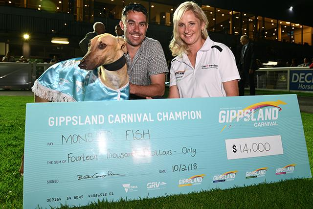 Cranbourne Cup runner-up Monster Fish with Kate and Matt Gorman after being officially crowned the 2017-18 Gippsland Carnival champion.