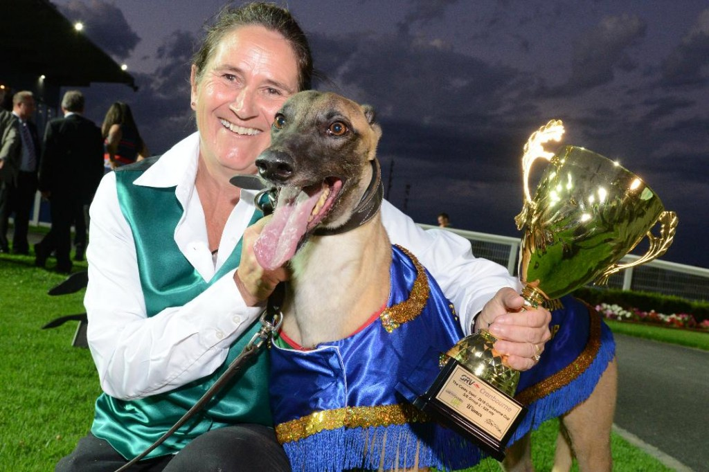 Mossimo Bale with trainer Andrea Dailly and the Cranbourne Cup.
